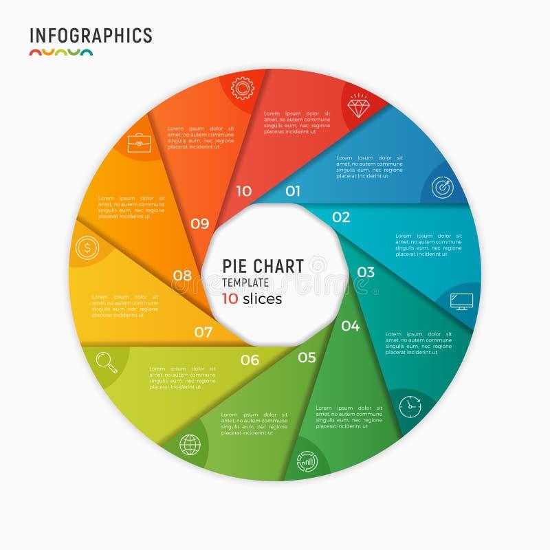 Plantilla infographic de la carta del círculo del vector 10 opciones, pasos, piezas stock de ilustración