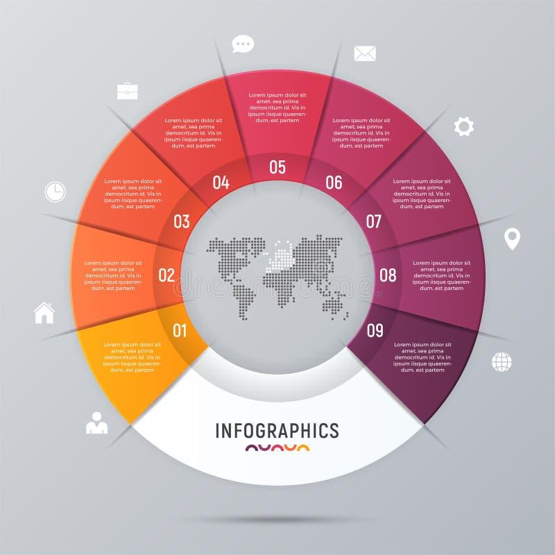 Plantilla infographic de la carta del círculo del vector para las presentaciones stock de ilustración