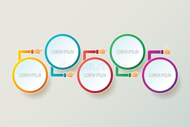 Plantilla infographic de la cronología abstracta del vector en el estilo 3D para el esquema del flujo de trabajo de la disposició stock de ilustración
