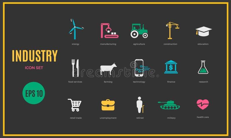 Plantilla infographic de la industria del vector Sistema del icono del color para su ejemplo o presentación ilustración del vector