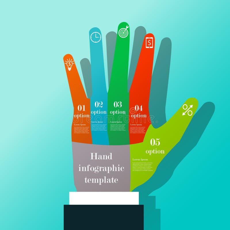 Plantilla infographic de la mano ilustración del vector