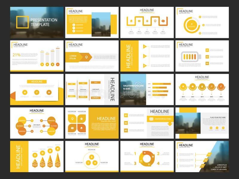 Plantilla infographic de la presentación de 20 elementos del paquete informe anual del negocio, folleto, prospecto, aviador de pu stock de ilustración