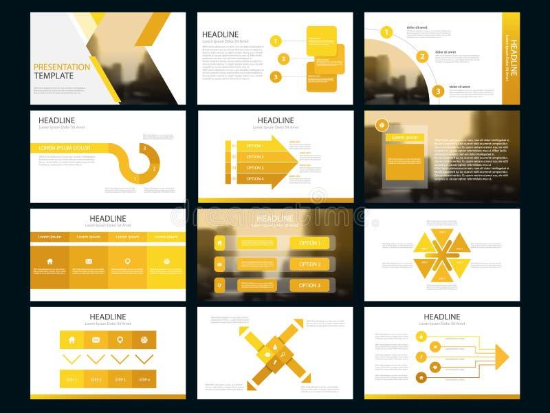 Plantilla infographic de la presentación de los elementos del paquete amarillo informe anual del negocio, folleto, prospecto, avi ilustración del vector
