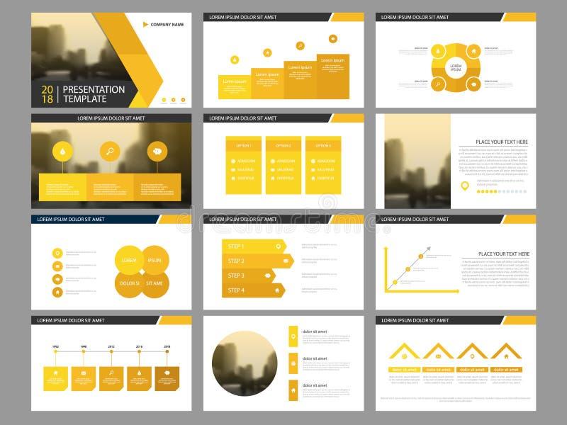 Plantilla infographic de la presentación de los elementos del paquete amarillo del triángulo informe anual del negocio, folleto,  ilustración del vector