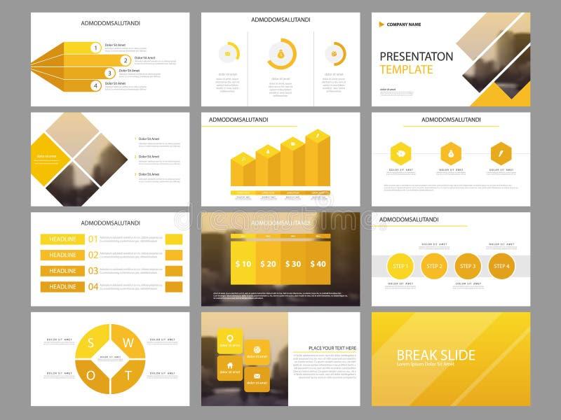 Plantilla infographic de la presentación de los elementos del paquete amarillo del triángulo informe anual del negocio, folleto,  libre illustration