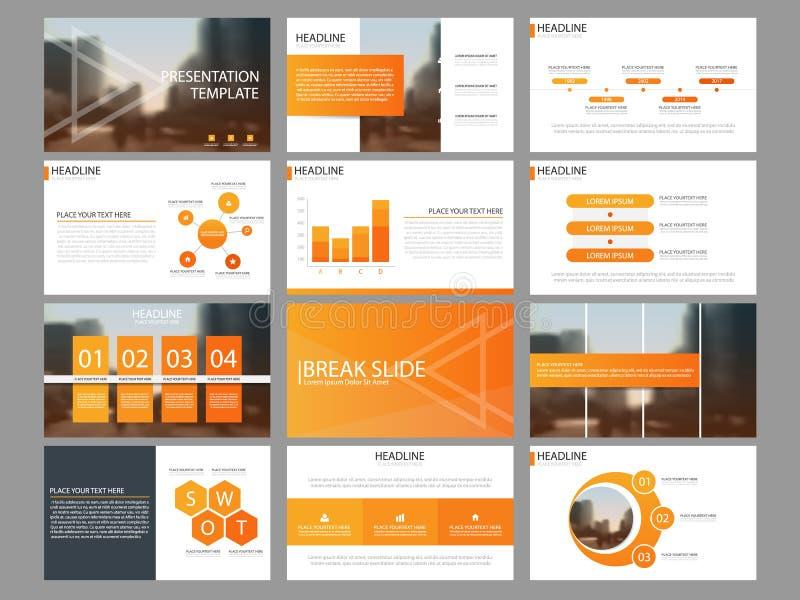 Plantilla infographic de la presentación de los elementos del paquete anaranjado informe anual del negocio, folleto, prospecto, a stock de ilustración