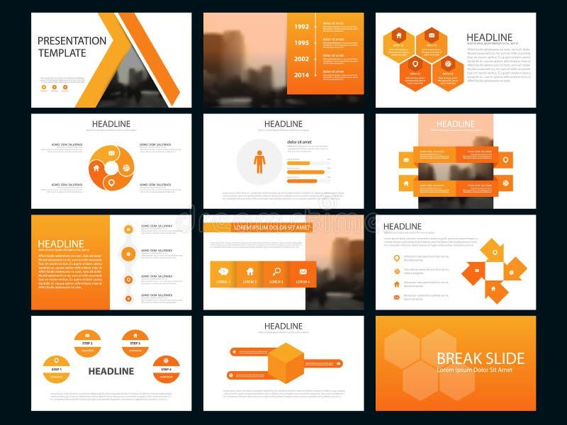 Plantilla infographic de la presentación de los elementos del paquete anaranjado informe anual del negocio, folleto, prospecto, a ilustración del vector