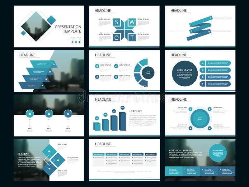 Plantilla infographic de la presentación de los elementos del paquete azul informe anual del negocio, folleto, prospecto, aviador ilustración del vector