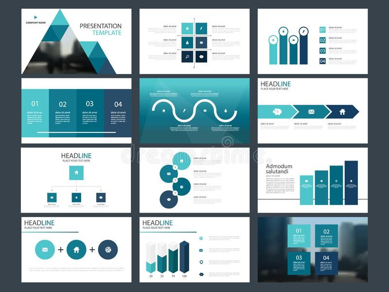 Plantilla infographic de la presentación de los elementos del paquete azul del triángulo informe anual del negocio, folleto, pros stock de ilustración