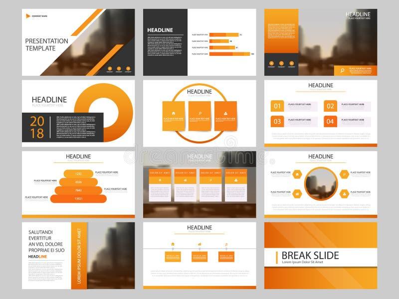 Plantilla infographic de la presentación de los elementos del paquete informe anual del negocio, folleto, prospecto, aviador de p stock de ilustración