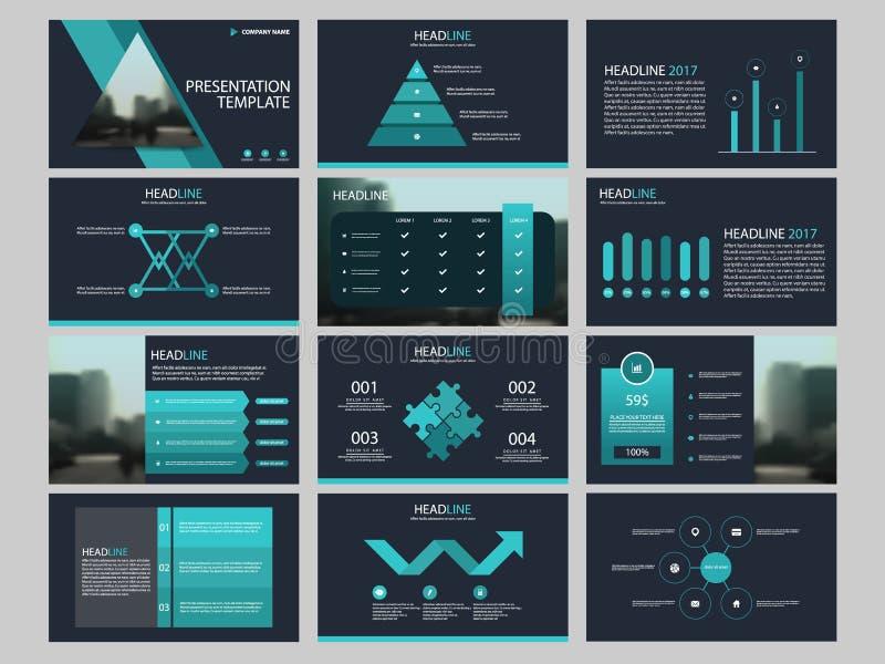 Plantilla infographic de la presentación de los elementos del paquete informe anual del negocio, folleto, prospecto, aviador de p ilustración del vector