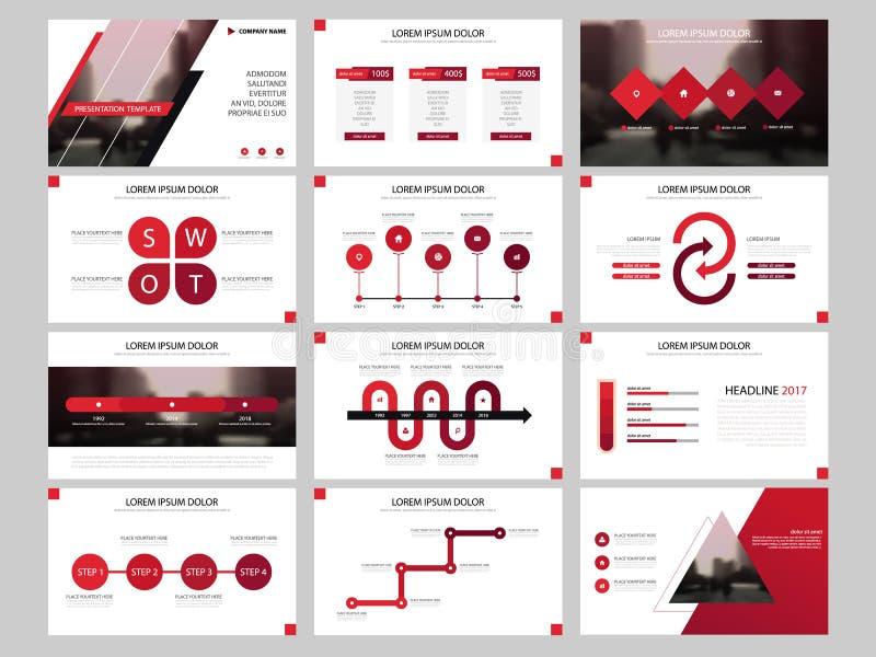 Plantilla infographic de la presentación de los elementos del paquete rojo informe anual del negocio, folleto, prospecto, aviador ilustración del vector