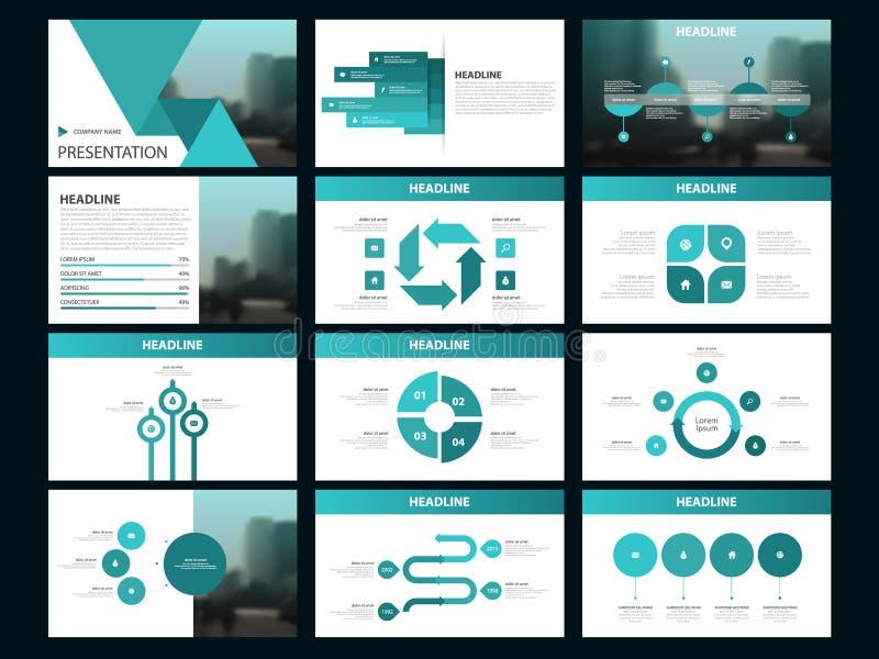 Plantilla infographic de la presentación de los elementos del paquete verde informe anual del negocio, folleto, prospecto, aviado stock de ilustración