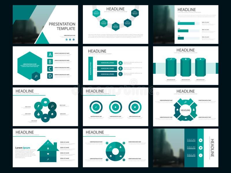 Plantilla infographic de la presentación de los elementos del paquete verde informe anual del negocio, folleto, prospecto, aviado ilustración del vector