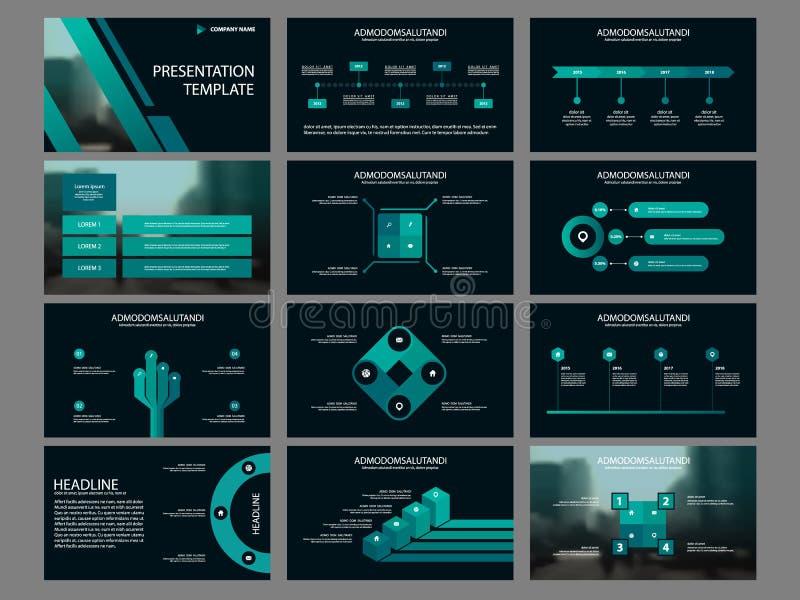 Plantilla infographic de la presentación de los elementos del paquete verde informe anual del negocio, folleto, prospecto, aviado libre illustration