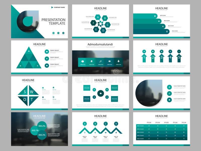 Plantilla infographic de la presentación de los elementos del paquete verde del triángulo informe anual del negocio, folleto, pro libre illustration
