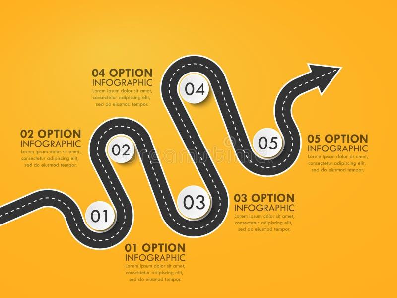 Plantilla infographic de la ubicación de la manera de camino con un indicador organizado de la estructura y del perno libre illustration