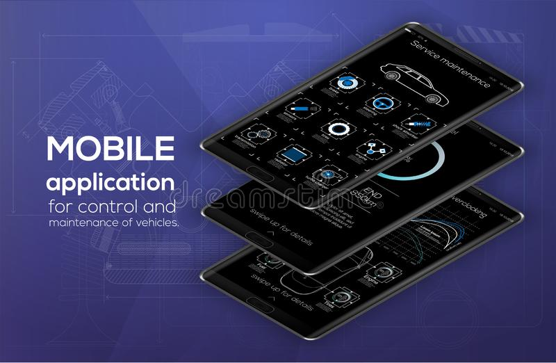 Plantilla infographic de los coches móviles del app con diseño moderno stock de ilustración
