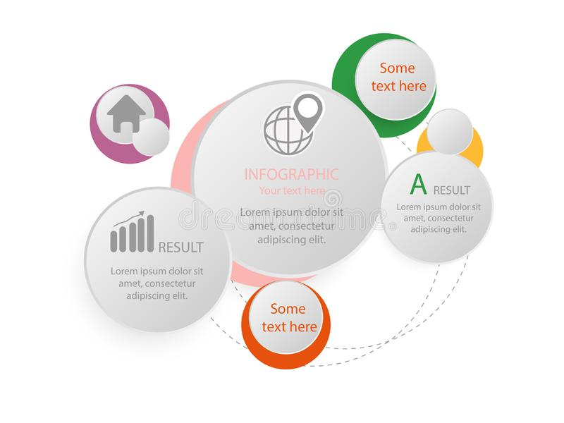 Plantilla infographic de 5 opciones con la línea iconos para las presentaciones, los informes, los folletos etc stock de ilustración