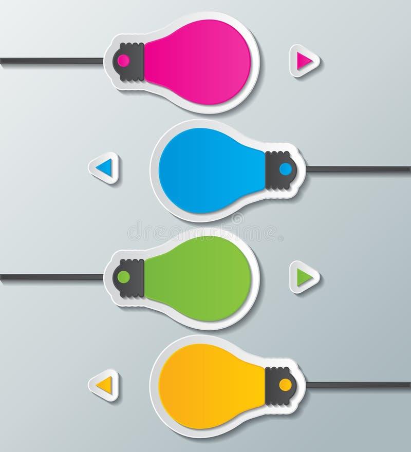 Plantilla infographic del bulbo de papel stock de ilustración