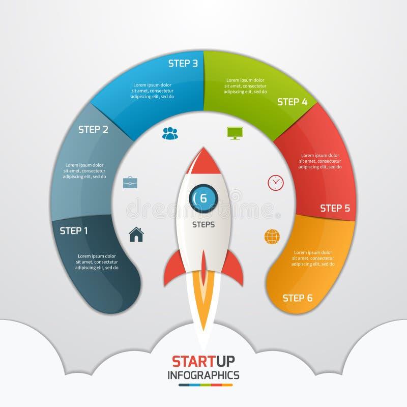 plantilla infographic del círculo de lanzamiento de 6 pasos con el cohete Negocios stock de ilustración