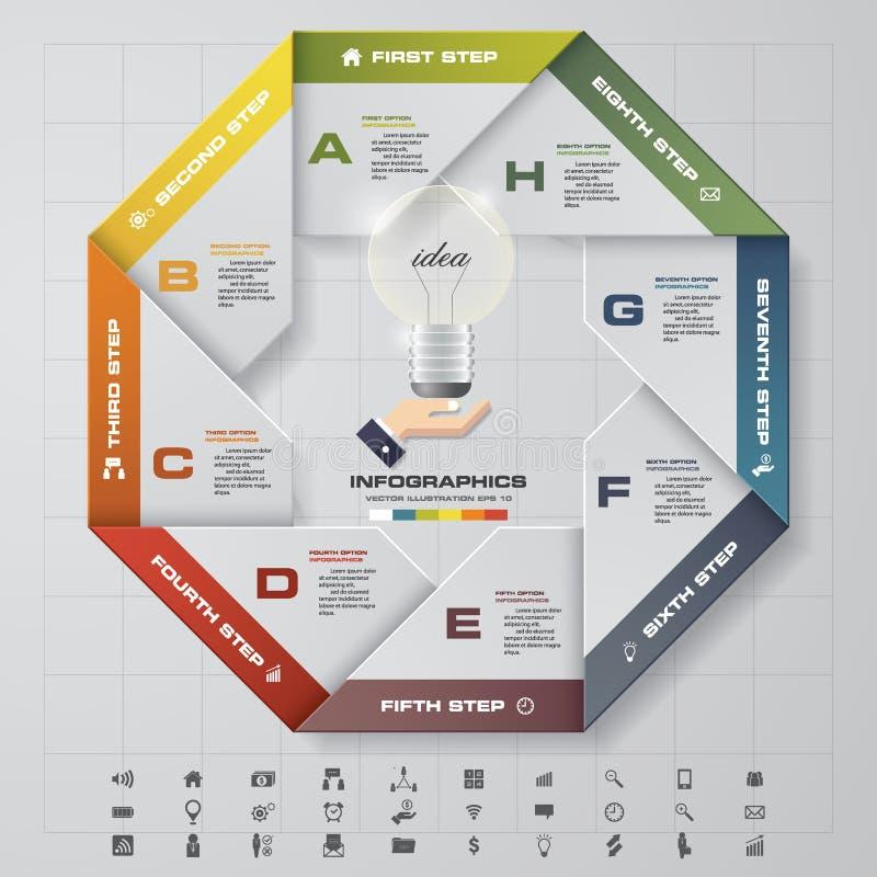 Plantilla infographic del círculo del vector abstracto con 8 pasos con la mano que muestra la bombilla en el centro stock de ilustración