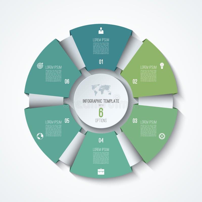 Plantilla infographic del círculo Rueda de proceso Gráfico de sectores del vector ilustración del vector