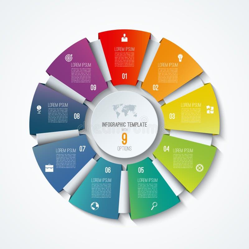 Plantilla infographic del círculo Rueda de proceso Gráfico de sectores del vector Concepto del negocio con 9 opciones stock de ilustración
