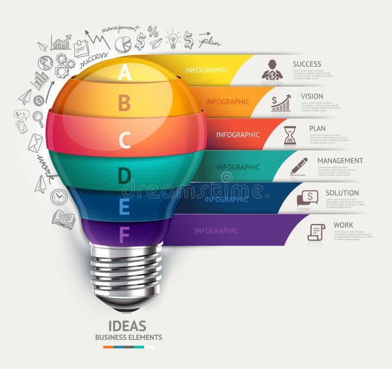 Plantilla infographic del concepto del negocio Bombilla e ico de los garabatos stock de ilustración