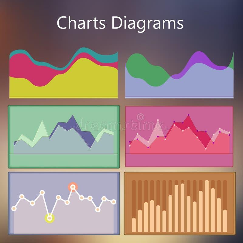 Plantilla infographic del diseño con los diagramas de cartas stock de ilustración