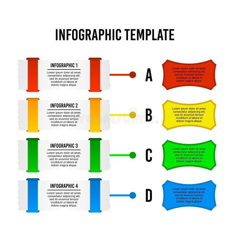 Plantilla infographic del diseño de la hoja de papel ilustración del vector