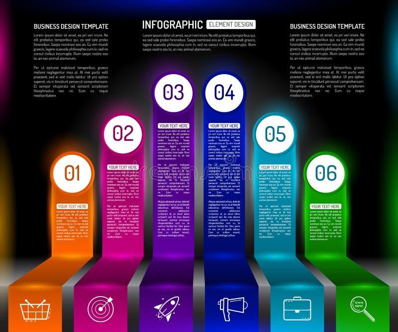 Plantilla infographic del diseño de las escaleras con el successi coloreado multi 6 ilustración del vector