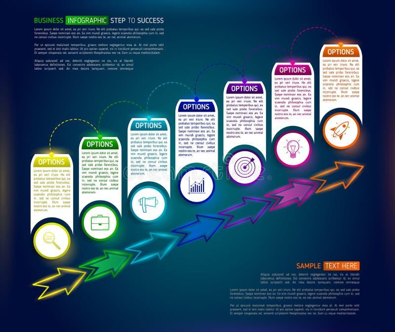 Plantilla infographic del diseño de las escaleras oscuras con el suc coloreado multi 7 ilustración del vector