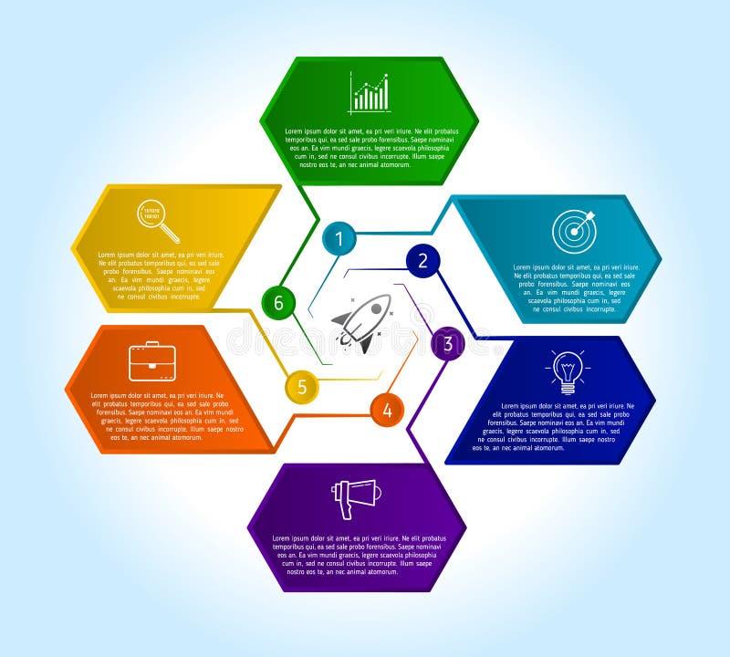 plantilla infographic del diseño de 6 pasos con el texto y el icono libre illustration
