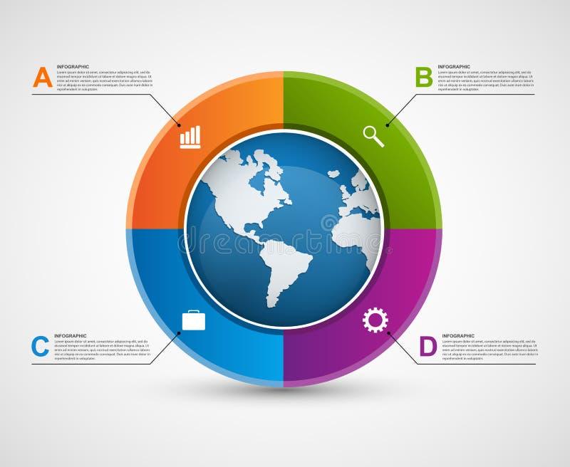 Plantilla infographic del diseño del círculo abstracto stock de ilustración