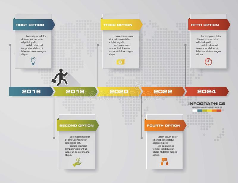 Plantilla infographic del diseño del vector de 5 pasos de la cronología Puede ser utilizado para los procesos del flujo de trabaj libre illustration