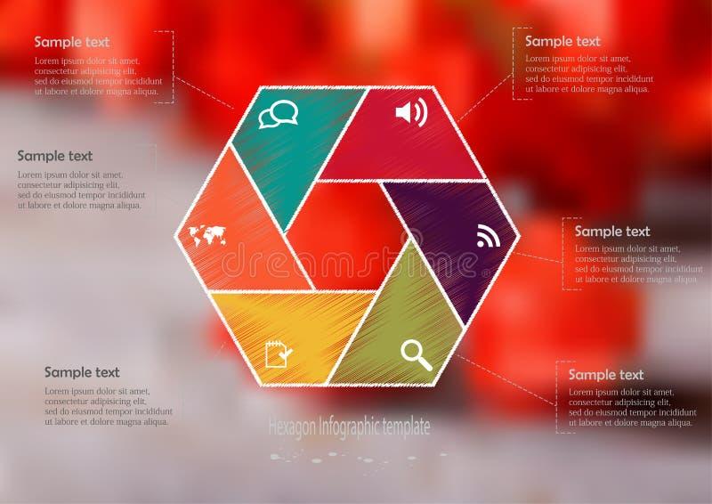 Plantilla infographic del ejemplo con el hexágono dividido a seis porciones ilustración del vector