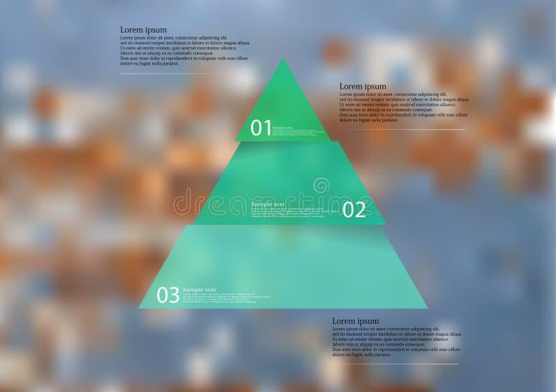 Plantilla infographic del ejemplo con el triángulo rojo dividido a tres porciones ilustración del vector