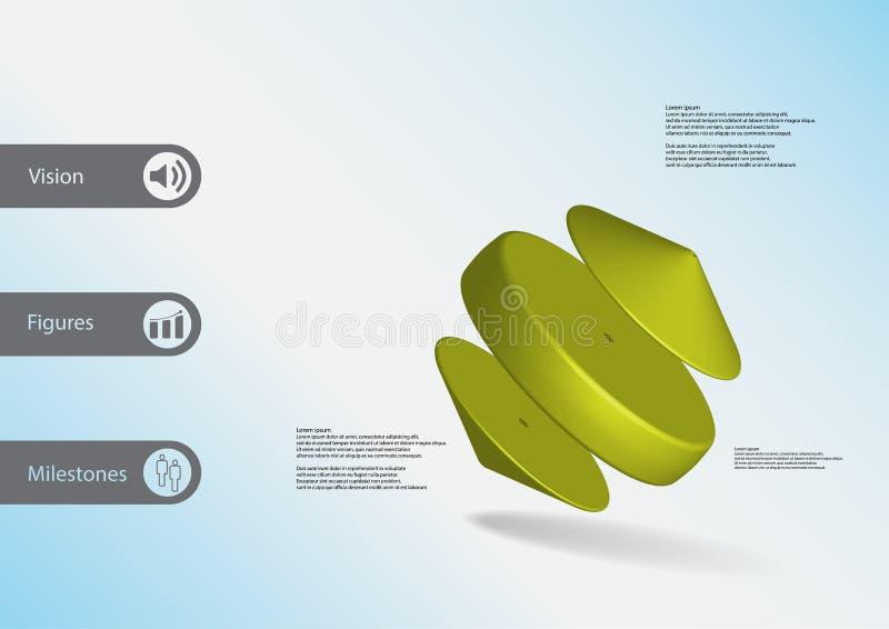 plantilla infographic del ejemplo 3D con el cilindro entre dos conos dispuestos oblicuamente ilustración del vector