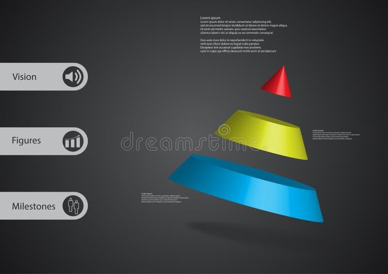 plantilla infographic del ejemplo 3D con el cono dividido a tres porciones oblicuo dispuesto stock de ilustración
