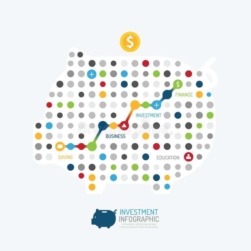 Plantilla infographic del estilo del punto de la hucha del negocio del diseño moderno stock de ilustración