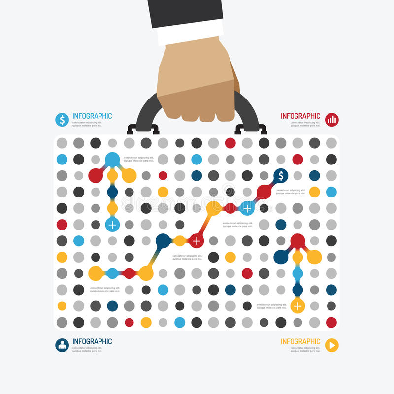 Plantilla infographic del estilo del punto del bolso del negocio del diseño moderno ilustración del vector