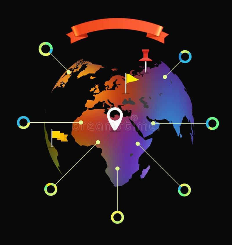 Plantilla infographic del mapa del mundo stock de ilustración