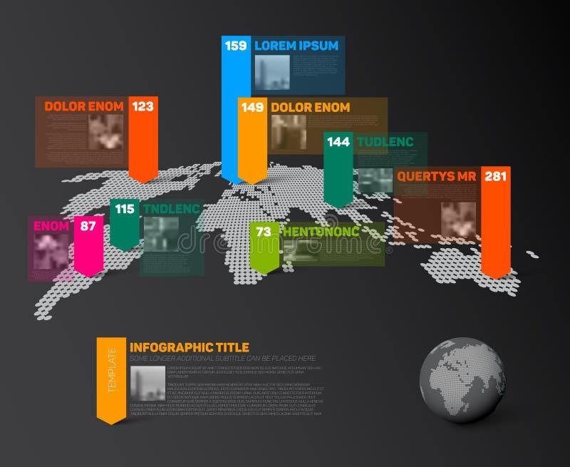 Plantilla infographic del mapa del mundo con las fotos libre illustration