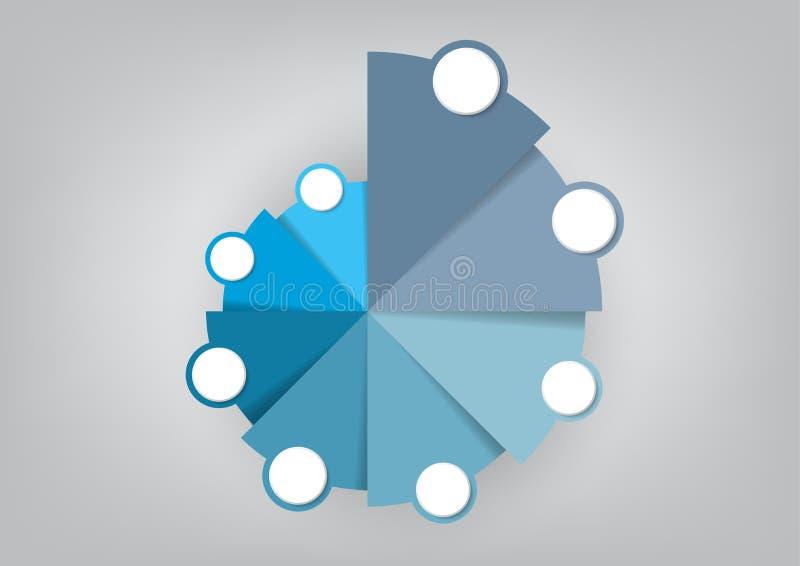 Plantilla infographic del negocio con el gráfico de sectores de 8 opciones, los elementos abstractos diagrama o los procesos, pla stock de ilustración