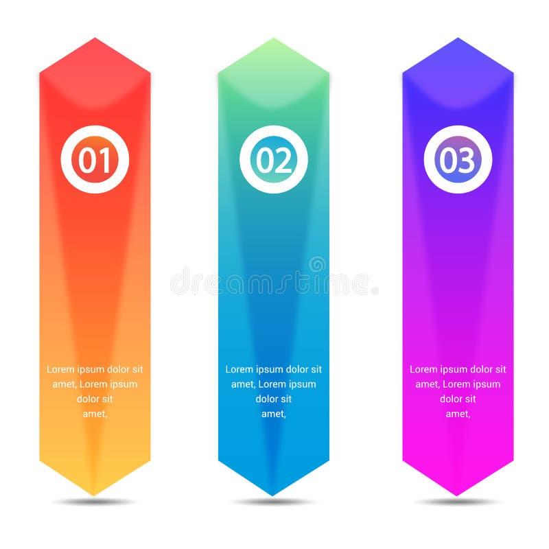 Plantilla infographic del negocio con 3 flechas Puede ser utilizado para el diagrama, gráfico, carta, informe, diseño web ilustración del vector