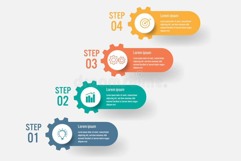 Plantilla infographic del negocio con 4 opciones, elementos abstractos diagrama o procesos e icono plano del negocio, negocio del ilustración del vector