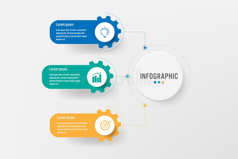 Plantilla infographic del negocio con 3 opciones del engranaje, elementos abstractos diagrama o procesos e icono plano del negoci ilustración del vector