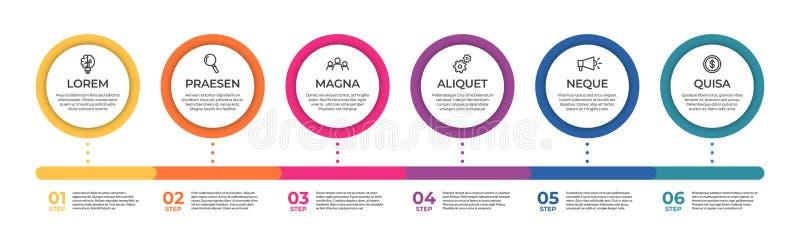 Plantilla infographic del negocio Concepto de la cronolog?a con 6 pasos para la presentaci?n, el informe, infographic y negocio ilustración del vector