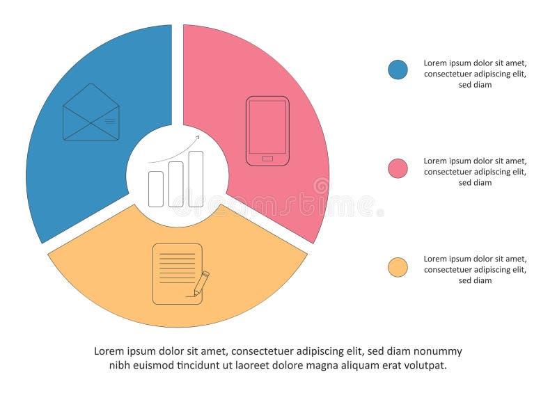 Plantilla infographic del negocio Cronología con 3 opciones, pasos, círculo Ilustración del vector Puede ser utilizado para el di stock de ilustración